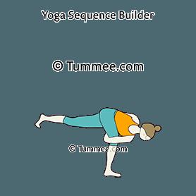 bound revolved half moon pose yoga baddha parivritta