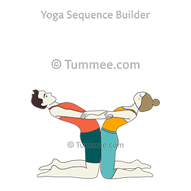 camel pose arms interlocked partner yoga ustrasana hasta