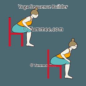 chair pose on chair hands on knees yoga utkatasana on