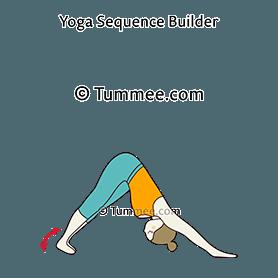 downward facing dog pose heels to side yoga adho mukha