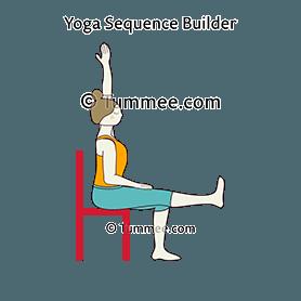 easy pose chair one leg opposite arm raised yoga
