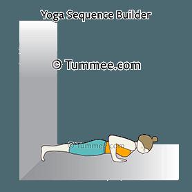 four limbed staff pose feet against wall yoga chaturanga