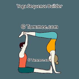 half handstand pose staff pose partner yoga ardha adho