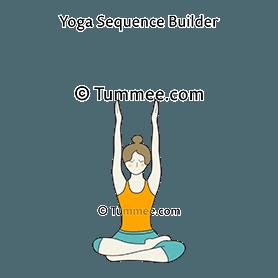 half lotus pose raised arms variation yoga ardha