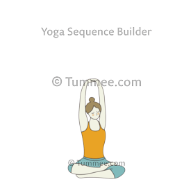 half lotus pose twist raised arms yoga  yoga sequences