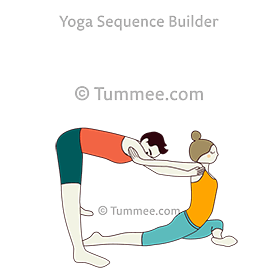 half pigeon pose hands back shoulders partner yoga ardha
