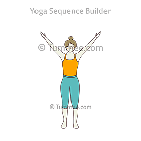 extended mountain pose with backbend yoga utthita