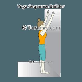 how to do tadasana facing wall straight arms  tummee