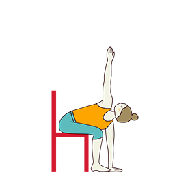 Revolved Chair Pose On Chair (Parivrtta Utkatasana Chair)