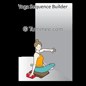 revolved easy pose against wall yoga parivrrta sukhasana