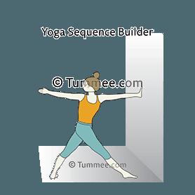 revolved triangle pose variation hand wall yoga parivrtta