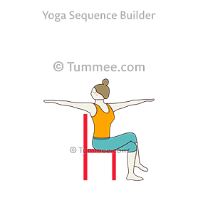 seated revolved arms extended eagle legs pose chair yoga