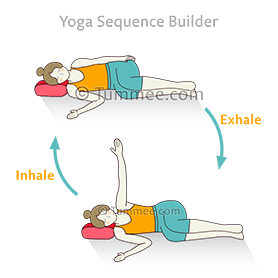 side lying pose resting head on pillow variation one hand