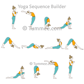 sun salutation variation standing in front of chair yoga