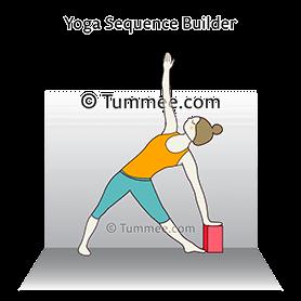 triangle pose block wall behind yoga trikonasana block