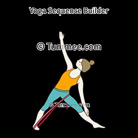 triangle pose variation hand on shin strap yoga