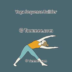 triangle pose variation lifted arms yoga trikonasana