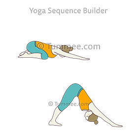 wide child pose downward facing dog pose flow yoga